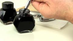 Fountain pen ink filling 2 - stock footage