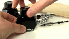Fountain pen ink filling Stock Footage