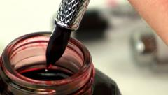 Fountain pen ink filling 6 - stock footage