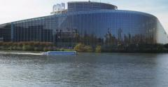 Visiting Strasbourg by boat European Parliament, Stock Footage