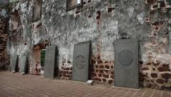 Remaining ruins St.Paul's church in Malacca, Malaysia - stock footage
