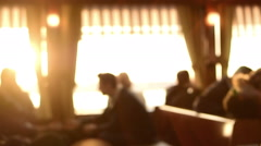 Blurred Interior of small domestic ferryboat cabin, passengers sitting Stock Footage
