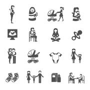 Motherhood Icons Set Stock Illustration