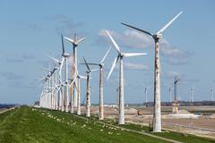 Construction of a windfarm along the Dutch coast - stock photo