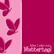 Hand Drawn German Happy Mother's Day card in vector format. - stock illustration