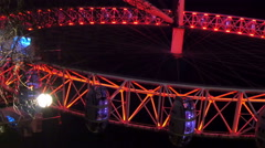 Upside view of the London Eye with red lights Stock Footage