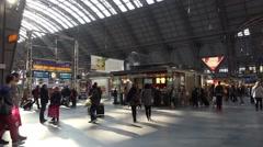 4k Frankfurt station inside building structures tilt shot Stock Footage