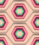 Honeycomb Spring Colors, Vector Seamless Pattern - stock illustration