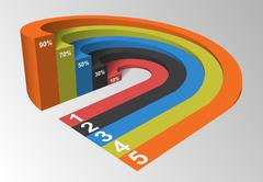 3D Infographics Element Circle Based, Competition Concept, Vecto Stock Illustration