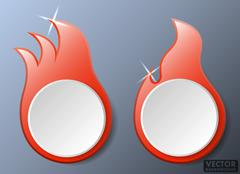 Hot Fire Flames Vector Banners Set Stock Illustration