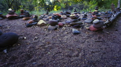 Rock cairns - stock footage