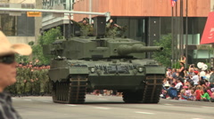 Army tank in a public parade Stock Footage