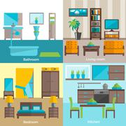 Interior rooms furnishing 4 flat icons Stock Illustration