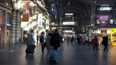 4k Tourists and passengers in Frankfurt city main station Stock Footage