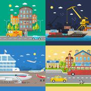 Transportation of passengers and goods delivery - stock illustration