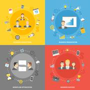 Business concept flat icons set - stock illustration