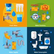 Water Supply Set - stock illustration