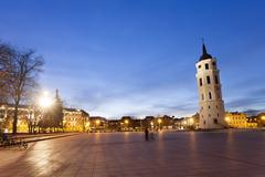 The Cathedral Square in central Vilnius Stock Photos