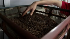 Man Hand Blended Coffee That Is Roasted. Roast Coffee Steamed Stock Footage