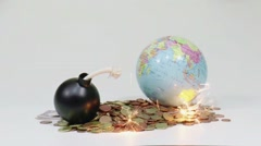 A bomb is threatning the  globe with sparkles - stock footage