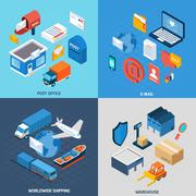 Mail Isometric Set Stock Illustration