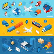 Logistics Banner Set Stock Illustration