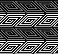 3D Rhombus Spirals Geometric Optical Black and White Vector Seam - stock illustration