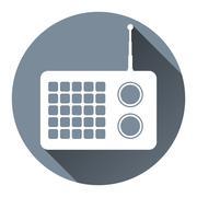 Hipster Radio Icon Flat Design Style, Circle Frame, Long Shadow, - stock illustration