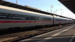 4k ICE train arriving Frankfurt city station panning shot Stock Footage