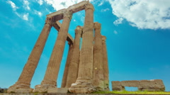 4K Athens Greece Temple of Zeus Ancient Olympeion timelapse 30p - stock footage