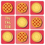 Stock Illustration of Tic-Tac-Toe of cookie and strawberry pie