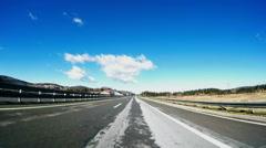 Fast driving car on a highway Zagreb Rijeka, Croatia Stock Footage