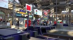 4k End of rails in Frankfurt main station inside panning shot Stock Footage