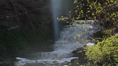Waterfall on eroded limestone rock during springtime Stock Footage
