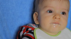 Baby fed from a spoon Stock Footage