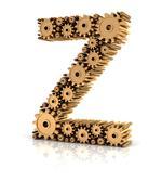 Alphabet Z formed by gears Stock Illustration