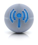 News icon on globe formed by dollar sign Stock Illustration