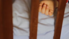 Baby sleeping in the crib Stock Footage