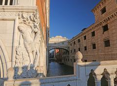 bridge of sighs in Venice in Italy without people - stock photo