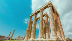 4K Athens Greece Temple of Zeus Ancient Olympeion timelapse 25p Stock Footage