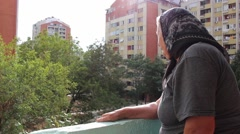 Grandmother on the Balcony - stock footage