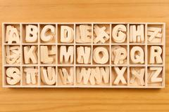 English alphabet set in wooden box Stock Photos