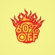 Fiery discount - stock illustration