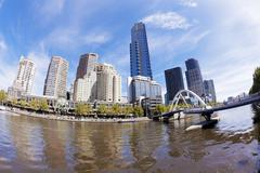 View of Southbank area in Melbourne CBD Stock Photos