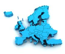 Detail Europe map with national borders - stock illustration