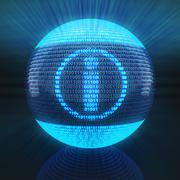 Info symbol on globe formed by binary code Stock Illustration