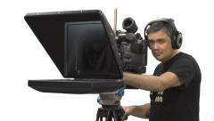 Cameraman and Teleprompter, Close-up Stock Footage