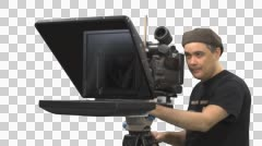 Cameraman and Teleprompter, CU Stock Footage