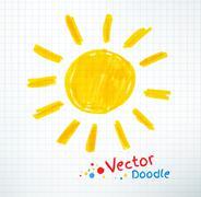 Childlike drawing of sun - stock illustration