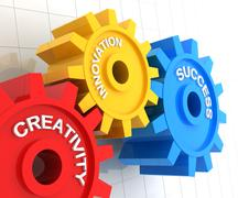 Creativity, innovation and success - stock illustration